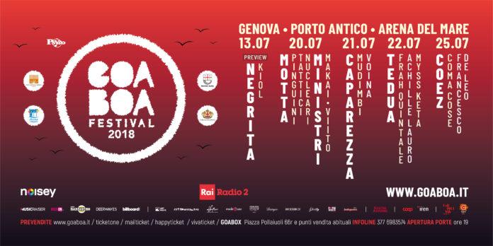 Goa~Boa 2018: annunciata la line up definitiva sul palco Motta, Caparezza, Coez, Tedua, Frah Quintale, Achille Lauro, Coma_Cose, Myss Keta, Ministri e tanti altri.