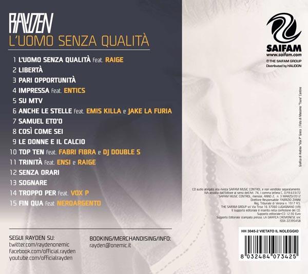 Tracklist Rayden L''uomo senza qualità
