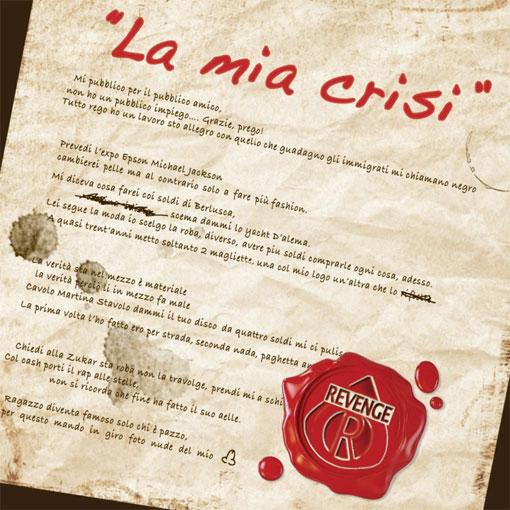 """Copertina singolo """"La mia crisi"""""""